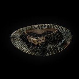 Gorgerin de maille 9mm anneaux plat rivet rond. noir