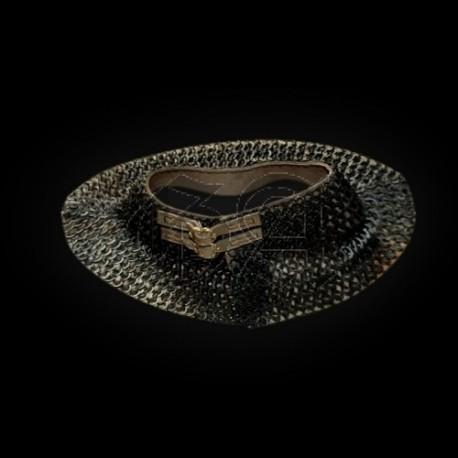 Gorgerin de maille 6mm anneaux rond rivet rond. noir
