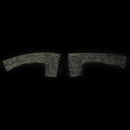 Gousset de maille 9mm anneaux plat rivet rond. noir