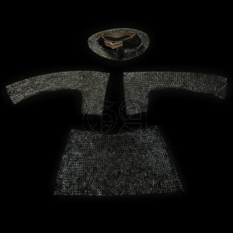 Ensemble complet de maille 9mm anneaux plat rivet rond. noir